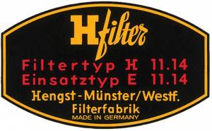 Performance Products® - Porsche® H Filter Decal Oil Filter, 1955-1969