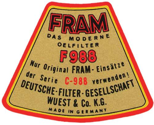 Performance Products® - Porsche® Fram Oil Filter Top Cover Decal, 1955-1969